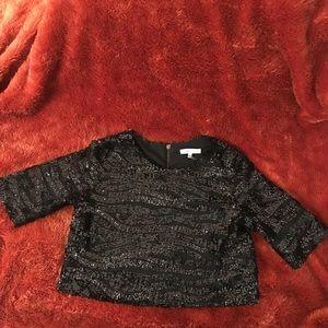 NWOT Lucy Paris Black Sequin Crop Top